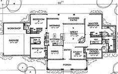 First Floor Plan of Traditional   House Plan 67724