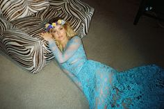 Bar models an Elie Saab dress and flower crown in this image
