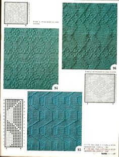 Diamonds and zigzags knit and purl stitches, charted, Russian website