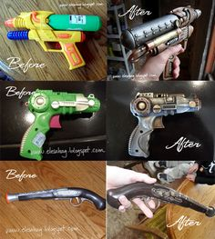 How to paint a plain old dollar store water-gun to look like a steampunk RAYGUN!  Who needs those silly little ceramic figurines to paint - these are way more cool!
