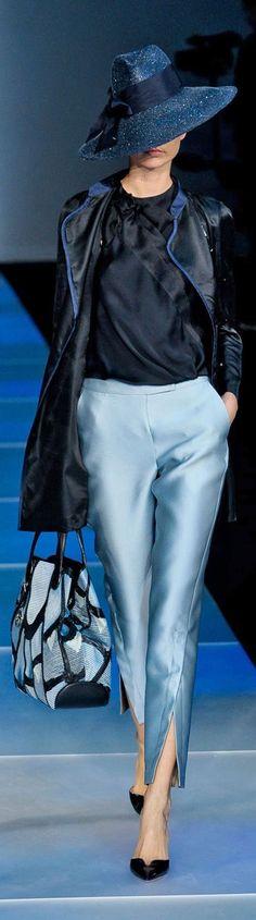 love the hat! Giorgio Armani Ready To Wear Spring/Summer 2012 | Milano Moda Fashion Week