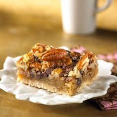 A bar cookie that tastes just like pecan pie with added chocolate chips! They're rich, so cut the bars small.