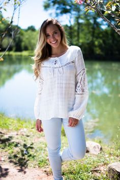 Show Me The Light White Long Sleeve Top