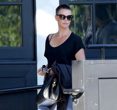 Charlize Theron out and about in Beverly Hills showing off a chic buzz cut
