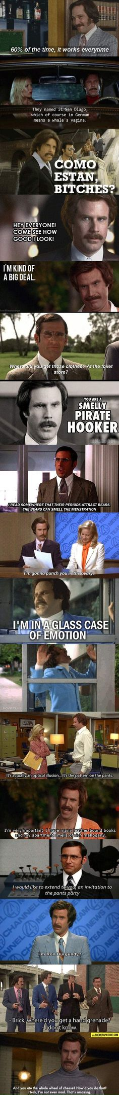 Funny pictures about Best of Anchorman. Oh, and cool pics about Best of Anchorman. Also, Best of Anchorman. Tv Quotes, Movie Quotes, Funny Quotes, Anchorman Quotes, Haha Funny, Funny Stuff, Awesome Stuff, Funny Things, Nerd