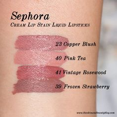 Sephora Cream Lip Stain Lipsticks in Copper Blush, Pink Tea, Vintage Rosewood an. Sephora Cream Lip Stain Lipsticks in Copper Blush, Pink Tea, Vintage Rosewood and Frozen Strawberry Swatches Sephora Brushes, Sephora Eyeshadow Palette, Sephora Mask, Sephora Lipstick, Lipstick Brands, Lipstick Set, Matte Lipstick, Lip Palette, Natural Lipstick
