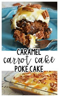 Caramel Carrot Cake Poke Cake with Maple Cream Cheese Frosting - Planning Inspired
