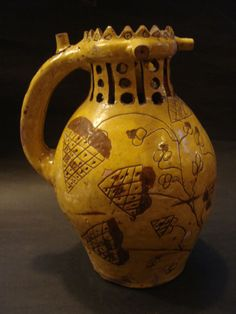 A magnificent Slipware Puzzle Jug Glazes For Pottery, Pottery Vase, Glazed Pottery, Vintage Pottery, Handmade Pottery, Earthenware, Stoneware, Old Crocks, Hand Painted Plates