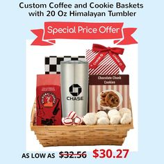 Custom Coffee and Cookie Baskets with 20 Oz Himalayan Tumbler are great gifts for clients, business partners and other significant people in your business network. The cookie basket consists of treats like Noble Knight almond tea cookies, cool peppermi Cookie Baskets, Almond Tea, Holiday Messages, Tea Cookies, Chocolate Chunk Cookies, Unique Christmas Gifts, Secret Santa Gifts, Coffee Roasting, Custom Tumblers