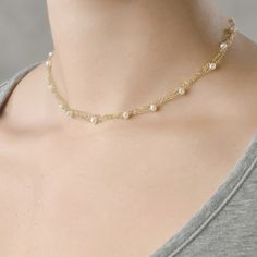Delicate choker necklace with freshwater pearls (R067). $135.00, via Etsy.