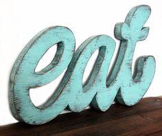 Essen Sie Zeichen, dass die Küche Holz Schild Restaurant hölzerne leichte Türkis Wand auf Etsy, CHF 53.80