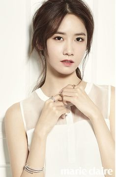 Girls' Generation member Yoona is being featured in the upcoming issue of Marie Claire Magazine. Dressed elegantly in dresses that drape against her slim body and mature attire, she looks elegant yet still as innocent and pure as ever. Im Yoona, Sooyoung, Girls Generation, Marie Claire, Kpop Girl Groups, Korean Girl Groups, Kpop Girls, Korean Magazine, Yuri