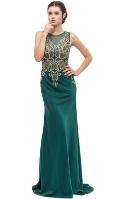 5459c53ccbd Sleeveless Embroidered Gilt Lace Trumpet Evening Gown