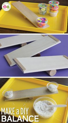 Make a DIY balance with a few simple and inexpensive materials from the craft store. The balances are great for math, science, or STEM learning centers in preschool and pre-k. Kids can study the concept of weight by using these inexpensive balances that y Measurement Kindergarten, Measurement Activities, Steam Activities, Science Activities For Kids, Montessori Activities, Math For Kids, Kindergarten Activities, Toddler Activities, Preschool Activities