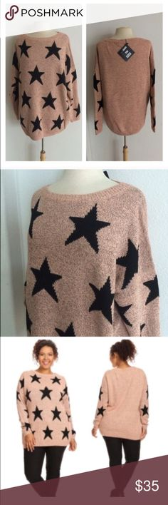 """BLOWOUT! (Plus) Pink star sweater 75% acrylic/ 25% nylon. Extremely soft and warm! These are not lightweight sweaters. Very TTS! I am a 2x and the 2x of this fits perfectly with a slightly oversized look. Color is a pink/ orange mixture with some black flecks throughout 2x: L 29"""" • B 52"""" 3x: L 30"""" • B 54"""" ⭐️This item is brand new with manufacturers tags or in original packaging. NO TRADES Price is firm unless bundled Ask about bundle discounts Availability: 2x•3x •3•1 Sweaters Crew & Scoop…"""