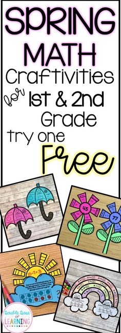 Spring math crafts for First grade and second grade. Math Crafts, Math Projects, Math Games, Math Activities, First Grade Crafts, First Grade Projects, Second Grade Math, Grade 1, Third Grade