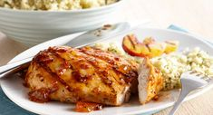 Peachy Grilled Chicken: 1 package McCormick® Grill Mates® Brown Sugar Bourbon Marinade, 1/4 cup oil, 2 tablespoons cider vinegar, 2 tablespoons peach preserves, 2 pounds boneless skinless chicken breast halves, 4 ripe peaches, halved and pitted