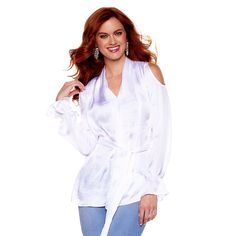 Hot in Hollywood Drapey Cold-Shoulder Blouse