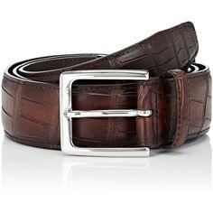 Barneys New York Men's Alligator Belt ($475) ❤ liked on Polyvore featuring men's fashion, men's accessories, men's belts, brown, mens brown belt, mens alligator belt and mens belts
