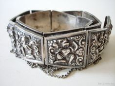 Fine Old Chinese Tibetan Thai Sterling Silver Sculpted Ritual Belt Buddhism 227g