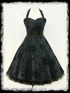 dress190 DARK BLUE 50s HALTER FLOCK TATTOO ROCKABILLY PROM PARTY DRESS UK 8-26 in Dresses | eBay