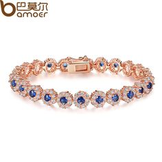 BAMOER New Hot Sale Blue Crystals Luxury Fashion Gold Plated Bracelet for Women Birthday Accessories JIB084