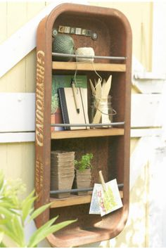Shelves made from an old wagon - functional and rustic <3