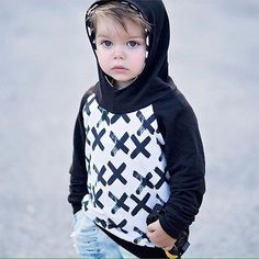 Is it possible to have too many hoodies?? This monochromatic black and white hoodie is just perfect.   #brindilleandtwig #kidsfashion #sewersofinstagram