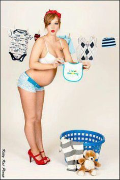 Pregnant pin up, maybe a little more covered up, but cute!