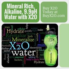 Mineral Rich, Alkaline, 9.9pH Water with X2O at http://www.BuyX2O.com #Xooma #X2O #alkalinewater #phbalance #minerals 