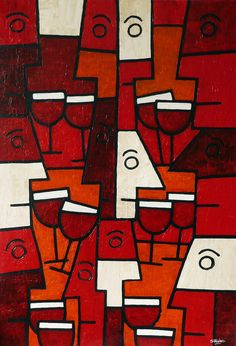 "Saatchi Online Artist: Simon Fairless; Acrylic, 2013, Painting ""Wine with Friends""    Beso de Vino Old Vine Garnacha"