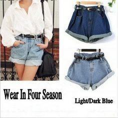 2013 Freeshipping women All Season Wear Denim ShortsTurnUp athletic High Waist Shorts Loose Fit Plus Large size Shorts Pants1950