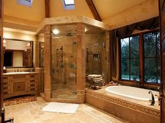 HUGE corner shower.  Actually this bathroom itself is huge, but that shower... Hello beautiful.
