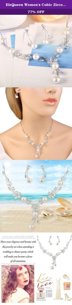 """EleQueen Women's Cubic Zirconia Simulated Pearl Flower Bridal Necklace Earrings Jewelry Set Ivory Color Silver-tone. You should have this jewelry set near you all the time since it is so fashion and eye-catching. You can wear it and have it with you to support you wherever you go. Make a statement with this wonderful jewelry set. EleQueen EleQueen has been found for many years, referred to """"Elegant Queen"""", which denotes to treat all of the world's women like an elegant queen and meet…"""