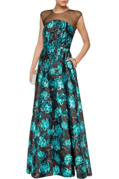 Shop on-sale Noir Sachin & Babi Barbara tulle-paneled printed sateen gown . Browse other discount designer Dresses & more on The Most Fashionable Fashion Outlet, THE OUTNET.COM