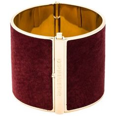 Dsquared2 contrasted panel cuff (€215) ❤ liked on Polyvore featuring jewelry, bracelets, cuff jewelry, red bangles, red jewelry, gold tone jewelry and hardware jewelry