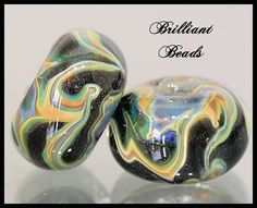 GalaxyBlack & Taupe Borosilicate Glass by Gillianbeads on Etsy, $7.00