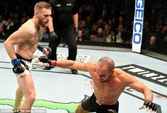 McGregor floored Alvarez three times in the first round with a flurry of punches to the he...