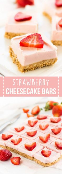 Strawberry cheesecake bars are silky smooth squares made with fresh strawberries and a few simple ingredients, a perfect dessert for Valentine's Day! #strawberry #cheesecake #bars #dessert #recipe #valentinesday #valentines #dessertrecipes