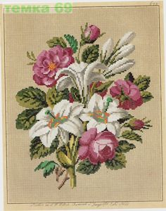 Easter--make it for next year. The flowers symbolize Mary (roses, purity of white bearing the gold treasure of Christ) and Easter. 123 Cross Stitch, Cross Stitch Thread, Cross Stitch Flowers, Cross Stitch Designs, Cross Stitching, Cross Stitch Patterns, Rose Embroidery, Cross Stitch Embroidery, Flower Coloring Pages