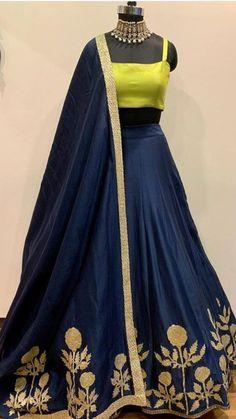 Navyblue Colore Bollywood Style Designer Embroidery Work With Lehenga Choli indian wedding wear for - Designer Dresses Couture Lehenga Choli Designs, Salwar Designs, Lehenga Designs Latest, Blouse Designs, Indian Lehenga, Red Lehenga, Navy Blue Lehenga, Lehenga Choli Latest, Sarees