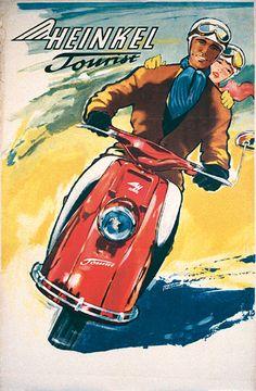 Heinkel Tourist scooter b Bike Poster, Motorcycle Posters, Motorcycle Bike, Racing Motorcycles, Vintage Motorcycles, Lambretta Scooter, Vespa Scooters, Custom Vespa, Retro Caravan