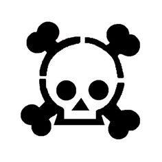 Cute skull and crossbones stencil template
