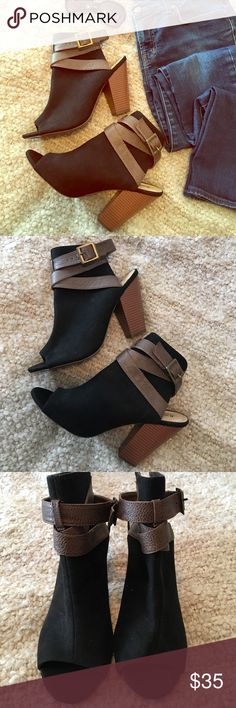"""Just Fab peep toe booties Adorable booties in great condition. Black faux suede with brown faux leather straps and bronze buckles. 4 1/2"""" heel. There are a few minor scuffs on the heels. JustFab Shoes Ankle Boots & Booties"""