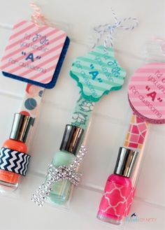 Nail polish & file gift, this would make cute favors for a spa party or sleepover.