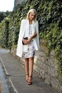 A white floral dress + a cape blazers = our new favorite Spring outfit
