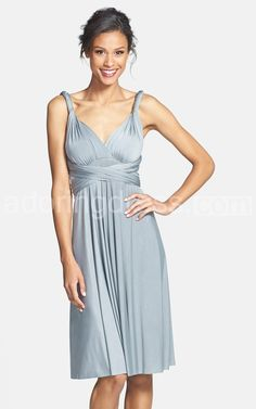 Sleeveless V-neck Knee-length Ruched Chiffon Gown With Criss-crossed Waist - Google Search