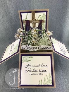 Stampin' Up! Easter Message card in a box pop up explosion box made by Queen B Creations