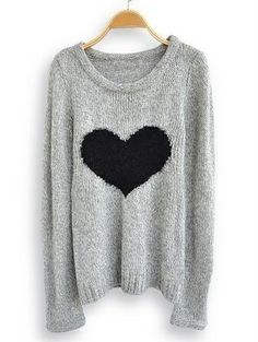 I found 'Light Grey Long Sleeve Love Heart Sweater' on Wish, check it out!