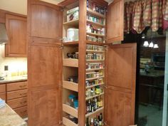 Appliance garage with roll outs combined with a floor to ceiling spice cabinet. this is my favorite part of our remodel hands down! Kitchen Items, Diy Kitchen, Kitchen Interior, Kitchen Design, Kitchen Stuff, Roll Out Shelves, Appliance Garage, Small Cottages, Beautiful Kitchens
